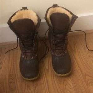 """Fur-lined Bean Boots 10"""" Brown"""